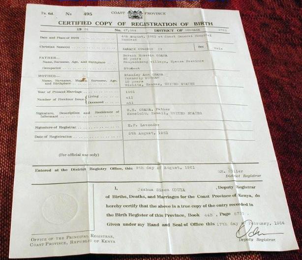 Obama\'s Kenyan Birth Certificate