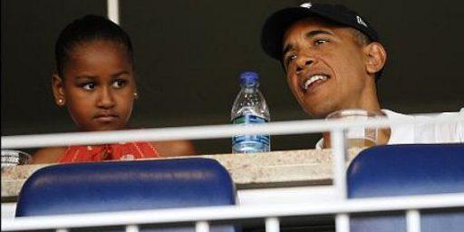 President Obama Attends Baseball Game, Conservative Blogger Freaks Out