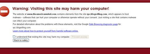 Blogrolling.com Malware Warning