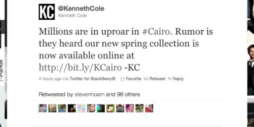 Kenneth Cole's Cairo Tweet