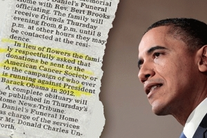 """""""In lieu of flowers.....make a donation to ANYONE running against Barack Hussein Obama"""""""