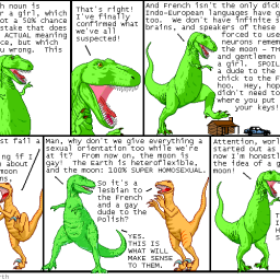Gay French Moon Dinosaur Cartoon