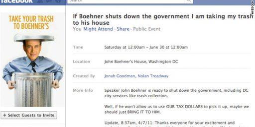 Dump Trash at Boehner's Place