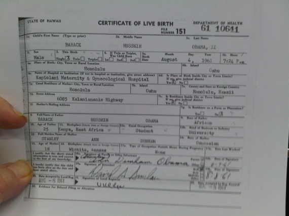 Obama\'s Long Form Birth Certificate