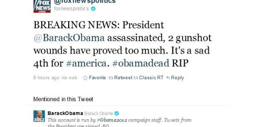Fox News Twitter Feed Hacked, Claims Obama Dead