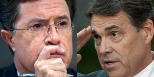 Stephen Colbert Treasurer Goes to Rick Perry (with an E)