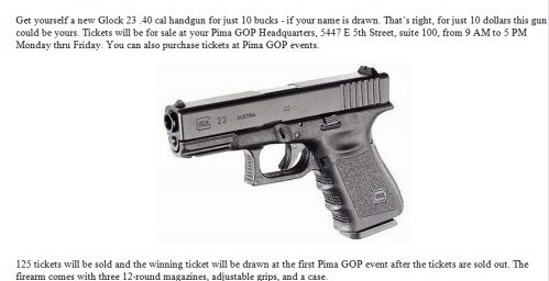 Gabby Giffords District Republicans Raffle a Glock!