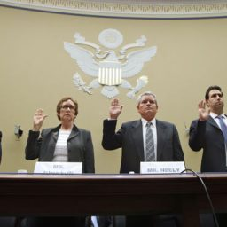 April 16, 2012: Witnesses prepare to testify before a House committee on General Services Administration spending. Being sworn in, from left, are: GSA Inspector General Brian Miller; former GSA Administrator Martha Johnson; Jeff Neely, former regional commissioner of the Public Buildings Service, Pacific Rim Region; GSA Chief of Staff Michael Robertson; and David Foley, deputy commissioner of the GSA Public Buildings Service. (AP)