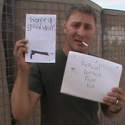 Little kid completely half-asses his letter to a soldier in combat.