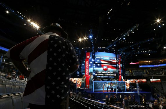 A delegate awaits the start of the first day of the 2012 Democratic National Convention in Charlotte