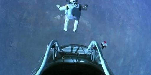 Felix Baumgartner Completes Successful Jump From 128,100 Feet Above The Earth