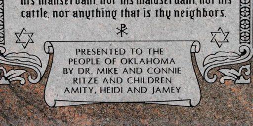Oklahoma Legislator Erects Ten Commandments Monument With Spelling Errors