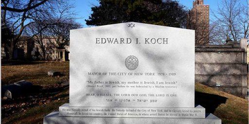 Ed Koch's Grave Mirrors Daniel Pearl's Final Words
