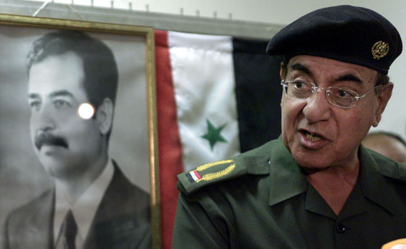 Iraqi Information Minister Mohammed Saeed al-Sahaf speaks during news conference in Baghdad March 24..