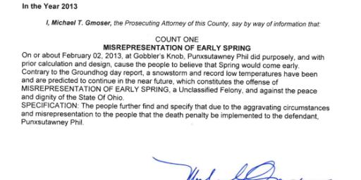 Ohio Prosecutor Indicts Punxsutawney Phil