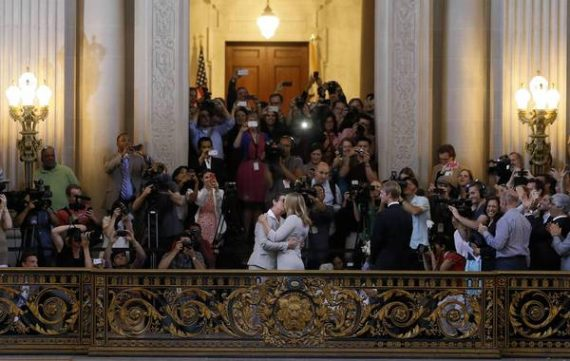 Kris Perry, center left, and Sandy Stier  wed at San Francisco City Hall.