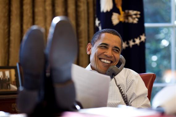 Obama Oval Office Feet On Desk