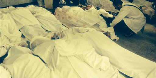 18 bodies in the past 30 minutes in the #MartyrRoom in the #Rabaa makeshift hospital! Not including other hospitals