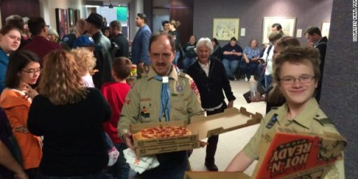 Boy Scout Troop Leader And His Eagle Scout Son Deliver Pizza To Gay Couples Waiting To Get Married