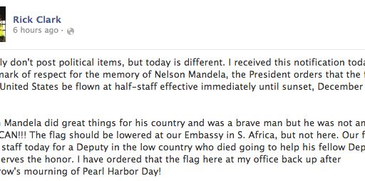 South Carolina Sheriff Refuses To Lower Flag For Nelson Mandela