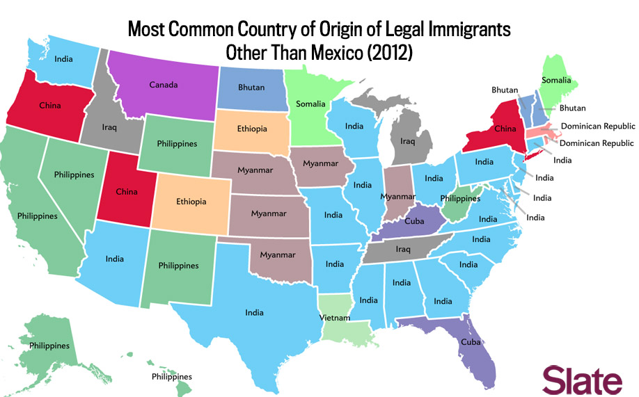 Most Common Immigrant Groups By State - Us-map-by-ethnicity
