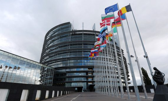 European Parliament Building With Flags
