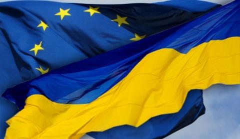 Ukraine EU Flags