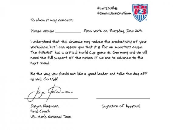 World Cup Klinsmann Excuse Letter