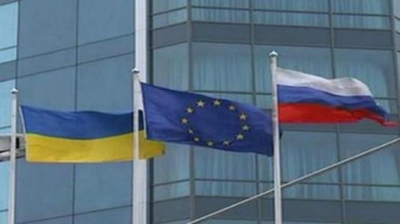 Ukraine Russia European Union Flags