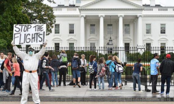 Ebola Travel Ban Protester
