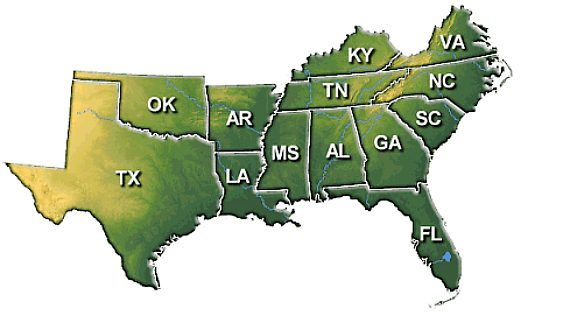 Southern Us Map Southern US Map – Outside the Beltway