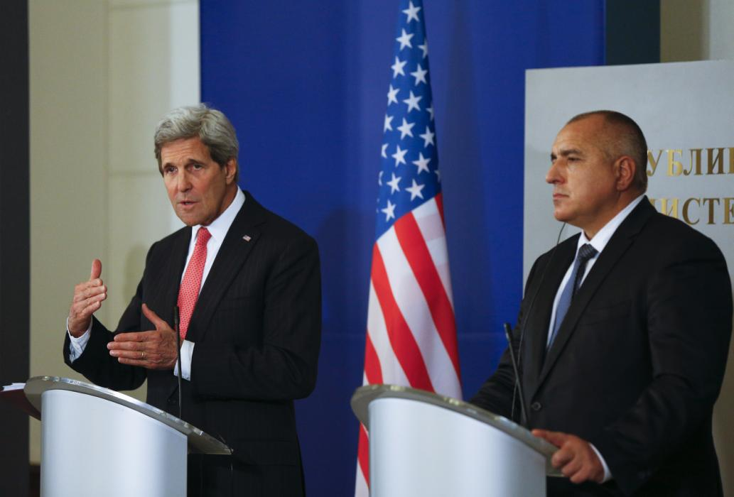 U.S. Secretary of State Kerry speaks to media after talks with Bulgarian Prime Minister Borisov in Sofia
