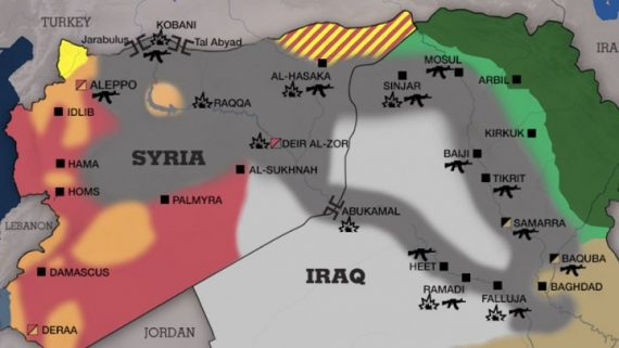 FRANCE 24   Screen grab of map showing areas controlled by the Islamic State group in Syria and Iraq 14 October 2014