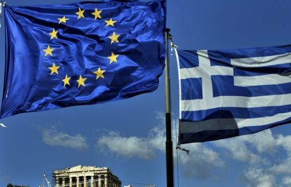 Greek European Union Flags