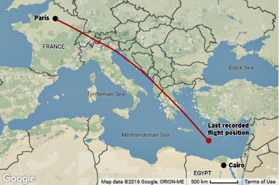 EgyptAir Flight 804 Map