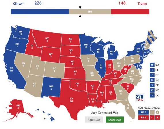 Electoral College Map -- HRC Bankable and DJT Bankable