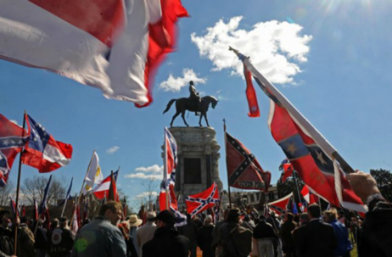 Confederate Statue And Flag