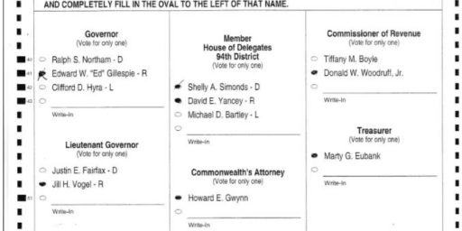 VA House of Delegates Race now a Tie