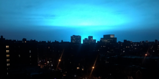 Eerie Blue Explosion Lights Up New York City