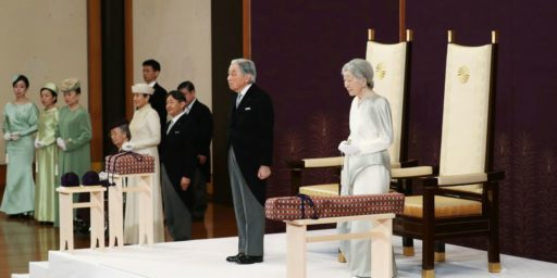 Japanese Emperor Officially Yields The Chrysanthemum Throne