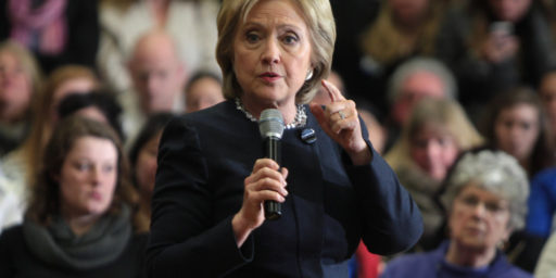 Former Secretary of State Hillary Clinton speaking with supporters at a town hall meeting at Hillside Middle School in Manchester, New Hampshire. January 22, 2016.