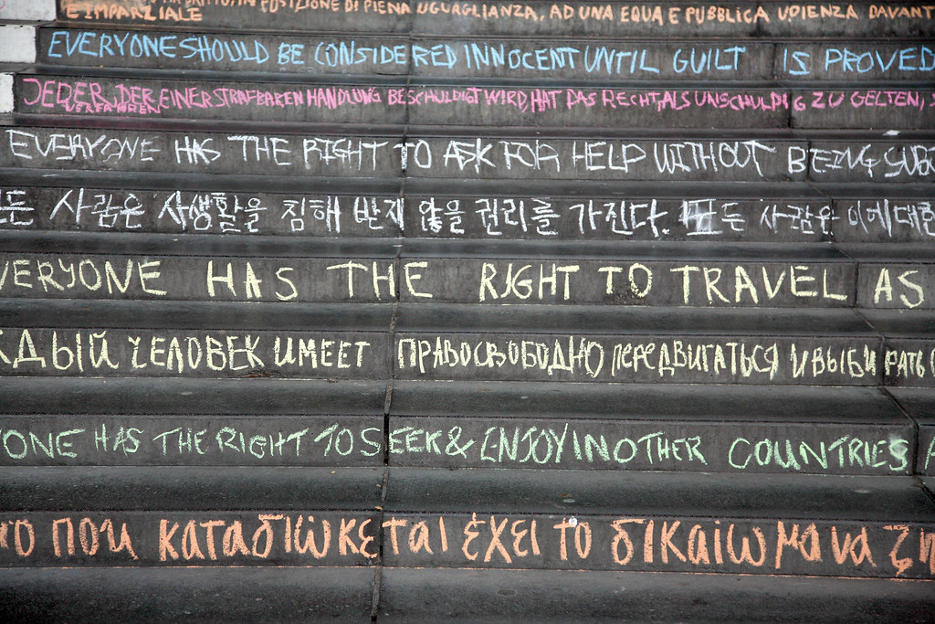"""Human Rights Day – chalking of the steps"" by University of Essex is licensed under CC BY 2.0"