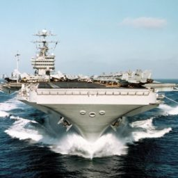 Navy aircraft carrier with jets