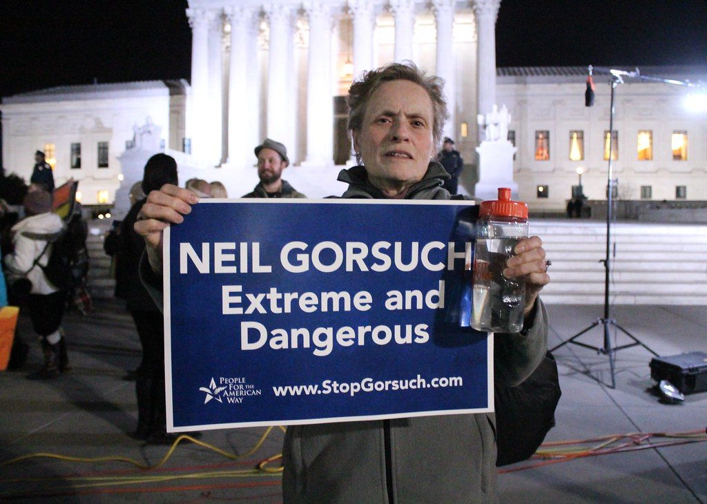 People For The American Way STOP GORSUCH FOR SUPREME COURT JUSTICE RALLY in front of the United States Supreme Court on First Street, NE, Washington DC on Tuesday night, 31 January 2017 by Elvert Barnes Protest Photography