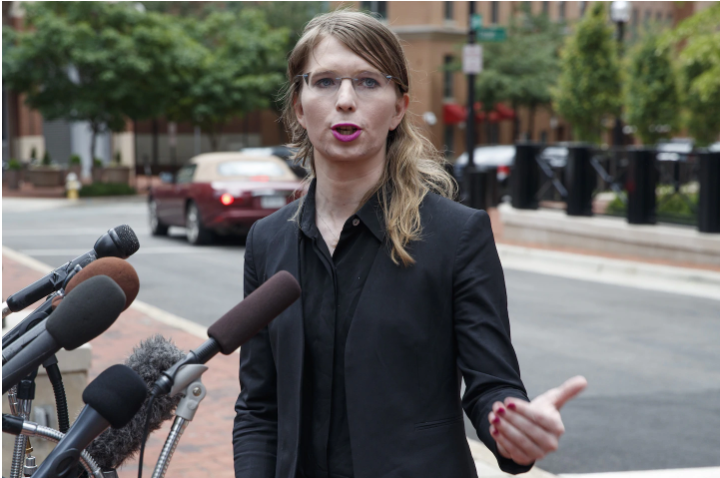 Chelsea Manning speaks at the Albert V. Bryan United States Courthouse in Alexandria on May 16. (Shawn Thew/EPA-EFE/Shutterstock)