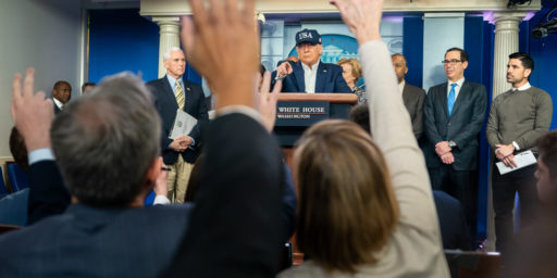President Donald J. Trump, joined by Vice President Mike Pence and members of the White House Coronavirus Task Force, takes questions from the press at a coronavirus update briefing Saturday, March 14, 2020, in the James S. Brady Press Briefing Room of the White House. (Official White House Photo by Shealah Craighead)