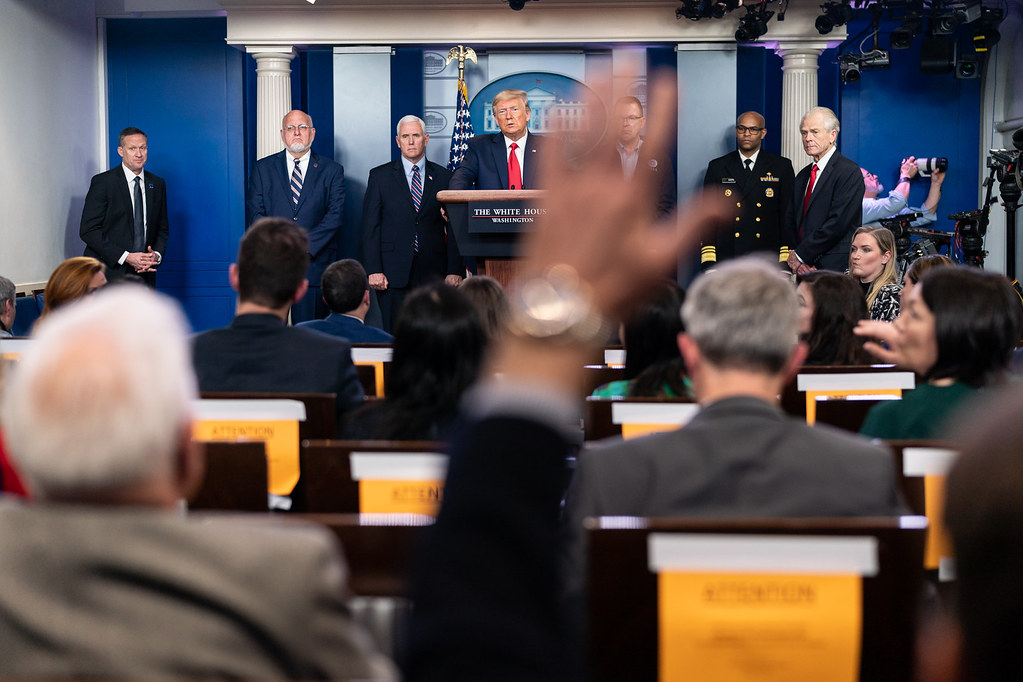 President Donald J. Trump listens to a reporter's question during the coronavirus (COVID-19) update briefing Sunday, March 22, 2020, in the James S. Brady Press Briefing Room of the White House. (Official White House Photo by Andrea Hanks)
