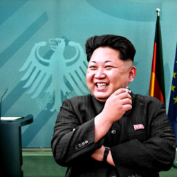 """""""Kim Jong-un visiting Berlin"""" by driver Photographer is licensed under CC BY-SA 2.0 Uploaded on March 30, 2017"""