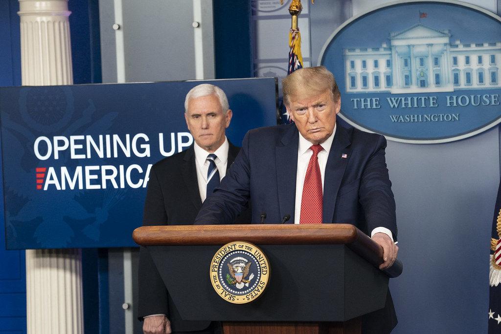 White House Coronavirus Update Briefing President Donald J. Trump, joined by Vice President Mike Pence and members of the White House COVID-19 Coronavirus task force, delivers remarks and answers questions from members of the press during a coronavirus update briefing Thursday, April 16, 2020, in the James S. Brady White House Press Briefing Room. (Official White House Photo by Joyce N. Boghosian)
