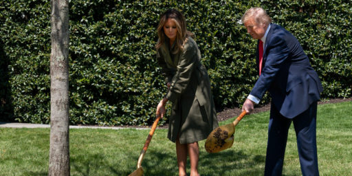 President Donald J. Trump and First Lady Melania Trump participate in a tree planting ceremony in honor of Earth Day and Arbor Day Wednesday, April 22, 2020, on the South Lawn of the White House. (Official White House Photo by Andrea Hanks)
